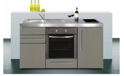 Miniküche MPBES 150 Glaskochfeld Kühlschrank Backofen