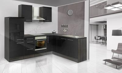 respekta l k chenzeile rp260esc 260x200 cm eiche schwarz hochgl. Black Bedroom Furniture Sets. Home Design Ideas