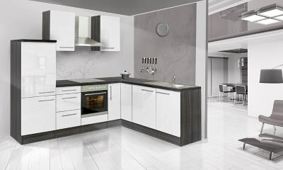 respekta L Küchenzeile RP260EWC 260x200 cm eiche weiss Hochglan