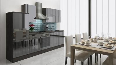 respekta Küchenzeile RP280ESC 280 cm Eiche grau schwarz Hochglan