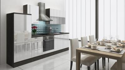 respekta Küchenzeile RP280EWC 280 cm Eiche grau weiss Hochglanz