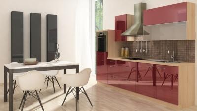 respekta Küchenzeile RP280HABO 280 cm akazie bordeaux Hochglanz