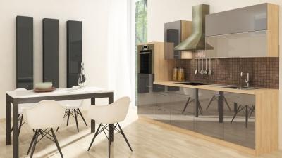 respekta Küchenzeile RP280HAG 280 cm akazie grau Hochglanz