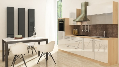respekta Küchenzeile RP280HAW 280 cm akazie weiss Hochglanz