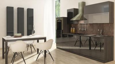 respekta Küchenzeile RP280HES 280 cm Eiche grau schwarz Hochglan