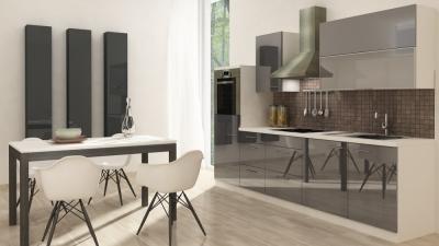 respekta Küchenzeile RP280HWG 280 cm weiss grau Hochglanz