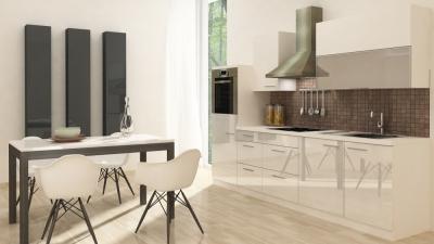 respekta Küchenzeile RP280HWW 280 cm weiss Hochglanz