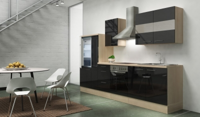 Küchenblock RP300ASC akazie schwarz hochglanz