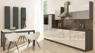 respekta Küchenzeile RP310HEW 310 cm Eiche grau weiss Hochglanz