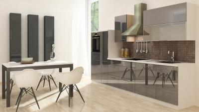 respekta Küchenzeile RP310HWG 310 cm weiss grau Hochglanz