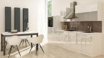 respekta Küchenzeile RP310HWW 310 cm weiss Hochglanz