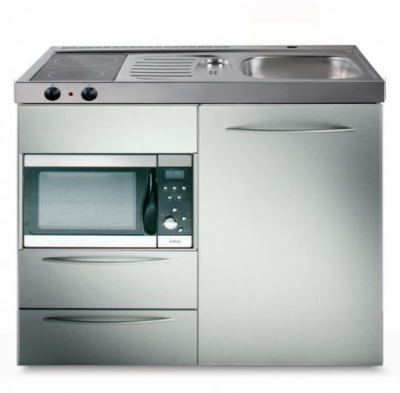 Miniküche MPMES 100 Glaskochfeld Kühlschrank Mikrowelle
