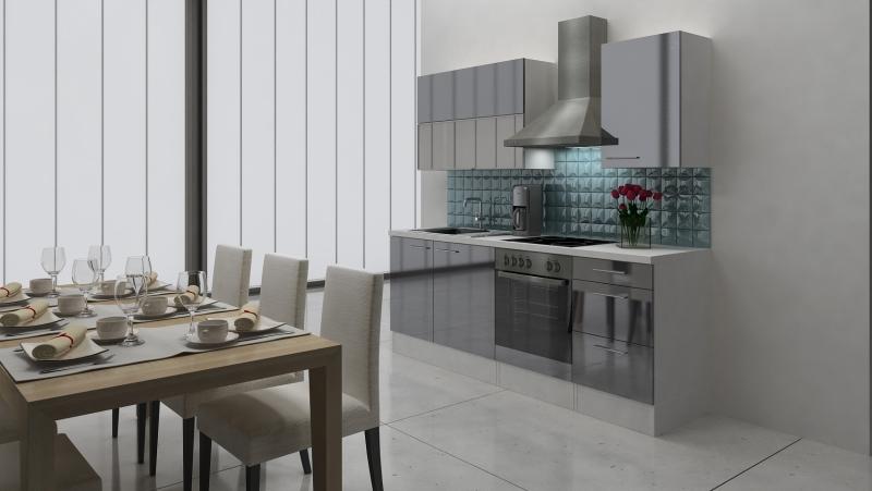 respekta k chenblock rp220wgc hochglanz grau ohne k hlschrank. Black Bedroom Furniture Sets. Home Design Ideas