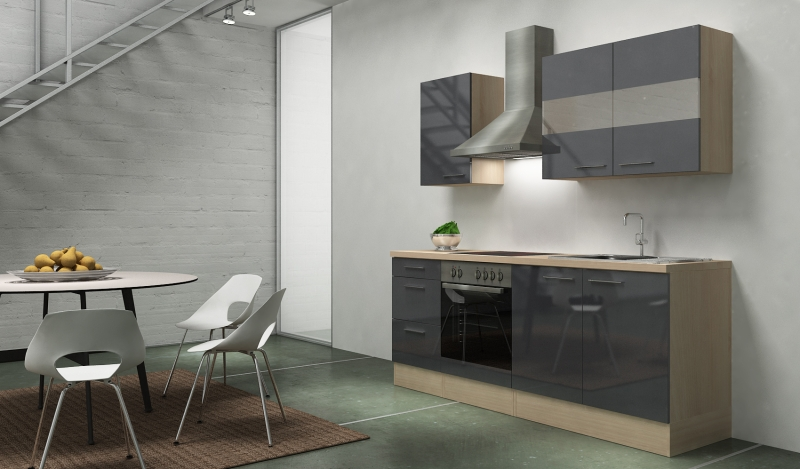 respekta k chenblock rp210agc hochglanz grau ohne k hlschrank. Black Bedroom Furniture Sets. Home Design Ideas