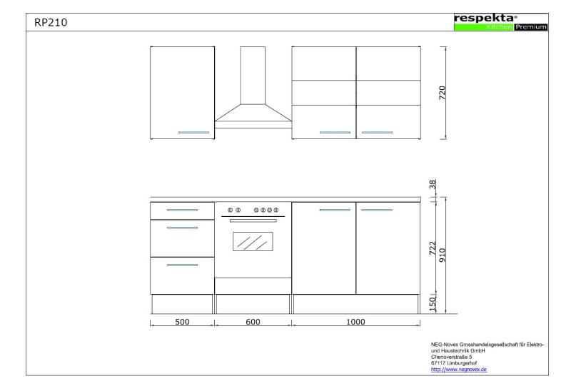 respekta k chenblock rp210ewc hochglanz weiss ohne k hlschrank. Black Bedroom Furniture Sets. Home Design Ideas