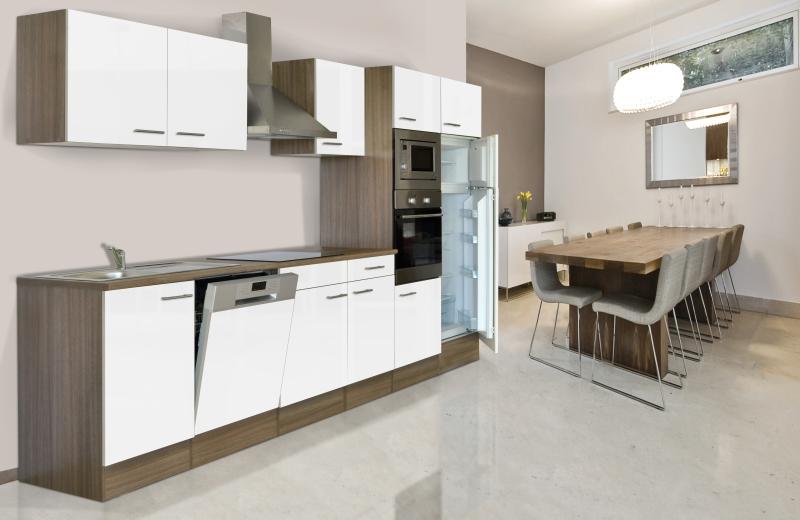 Küchenzeile Finanzieren ~ respekta küchenzeile kb340eywmigke eiche york nachbildung front dickkante 1,2 mm weiß