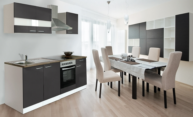 respekta k chenzeile kb210wg grau ohne k hlschrank. Black Bedroom Furniture Sets. Home Design Ideas