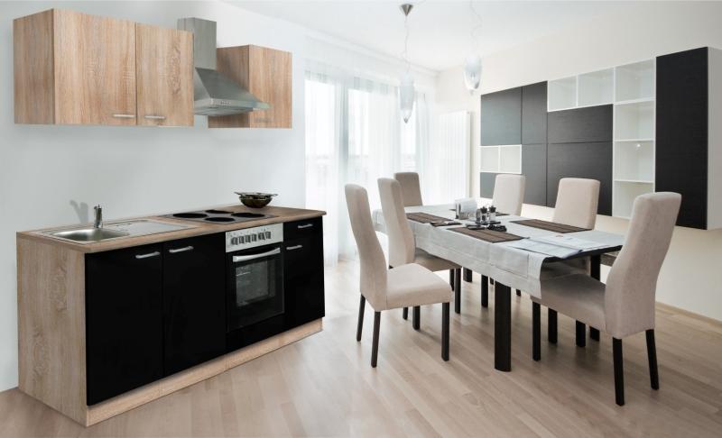 respekta k chenzeile kb210essoes schwarz ohne k hlschrank. Black Bedroom Furniture Sets. Home Design Ideas