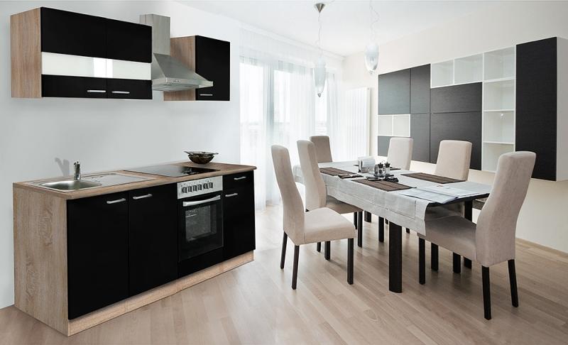 respekta k chenzeile kb210ess schwarz ohne k hlschrank. Black Bedroom Furniture Sets. Home Design Ideas