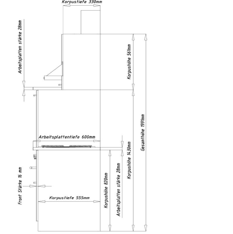 respekta k chenzeile kb220ws schwarz ohne k hlschrank. Black Bedroom Furniture Sets. Home Design Ideas
