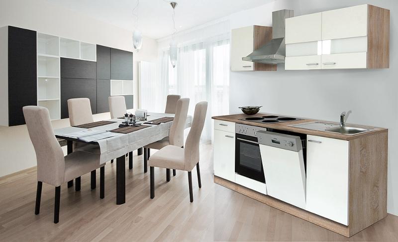 respekta Küchenzeile KB220ESW weiss ohne Kühlschrank