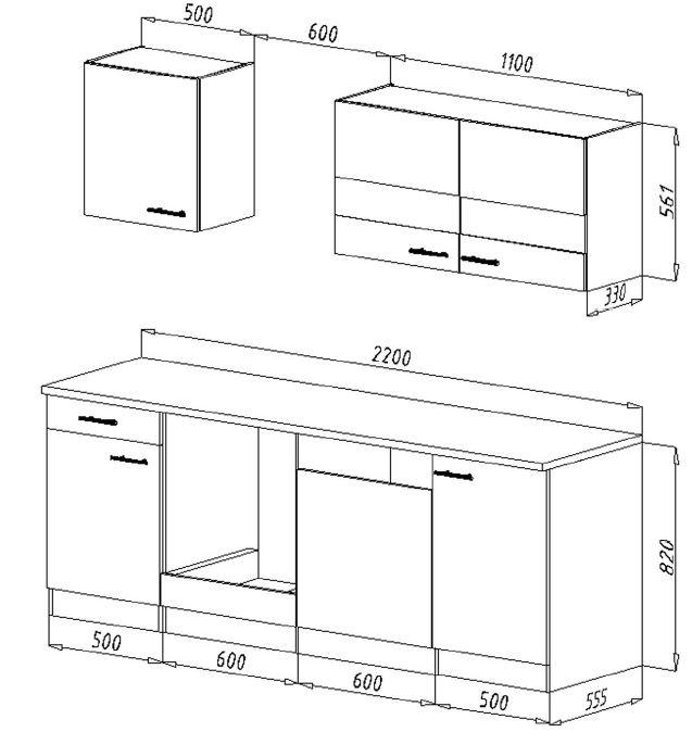 respekta k chenzeile kb220esg grau ohne k hlschrank. Black Bedroom Furniture Sets. Home Design Ideas