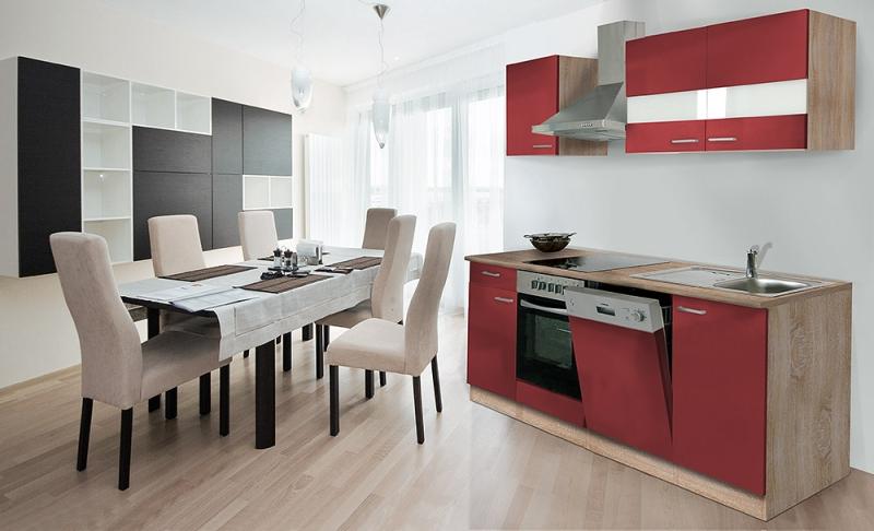 Respekta Küchenzeile Kb220esr Rot Ohne Kühlschrank