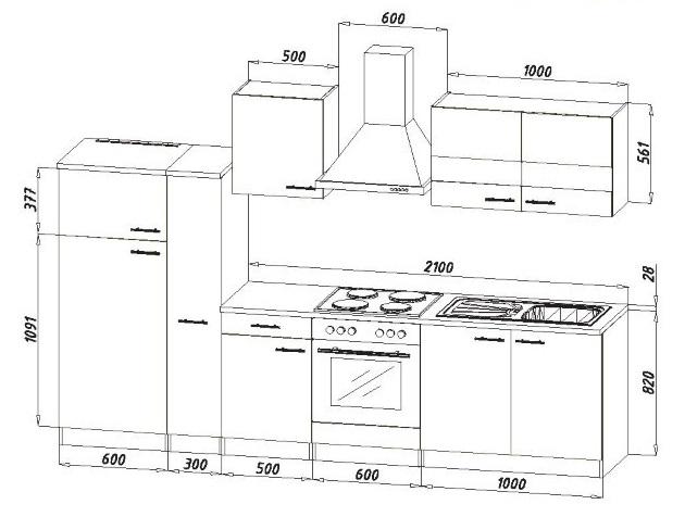 k chenblock k chenzeile grau kb300wg 3 m breit. Black Bedroom Furniture Sets. Home Design Ideas