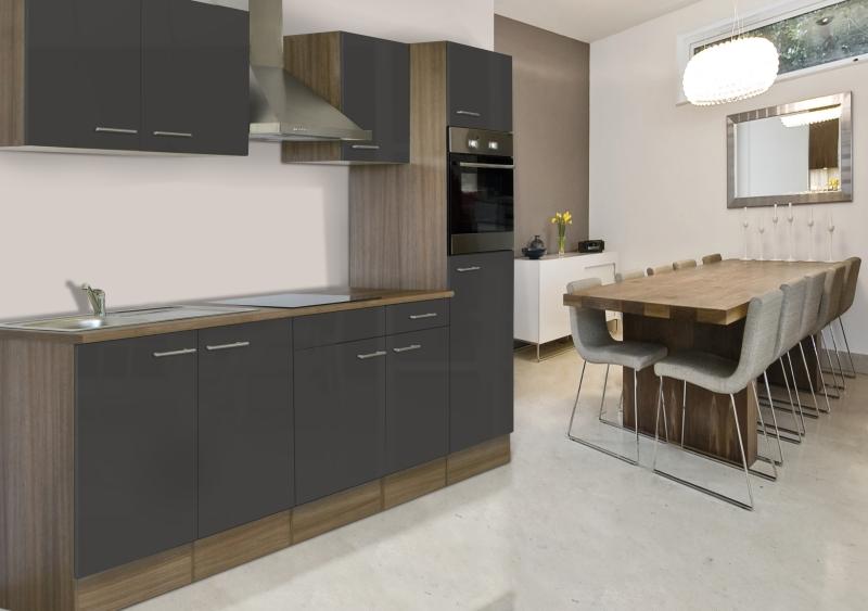 Respekta Küchenzeile Kb270Eyg Eiche York Nachbildung Front Grau