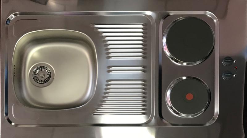 Miniküche Mit Kühlschrank Und Herd 120 Cm : Miniküche mk esgoss grau mit kühlschrank