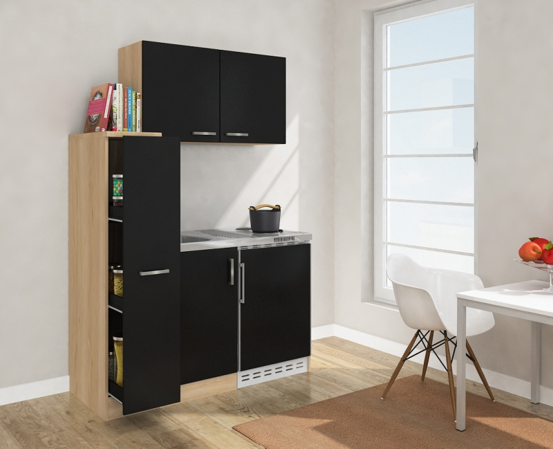minik che mk130essoss schwarz mit k hlschrank. Black Bedroom Furniture Sets. Home Design Ideas