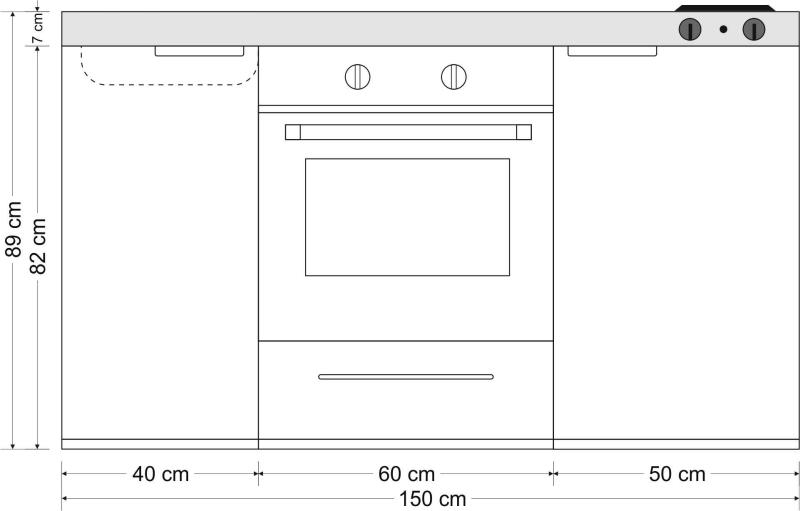 minik che mkb 150 e pantry links becken rechts mit backofen. Black Bedroom Furniture Sets. Home Design Ideas