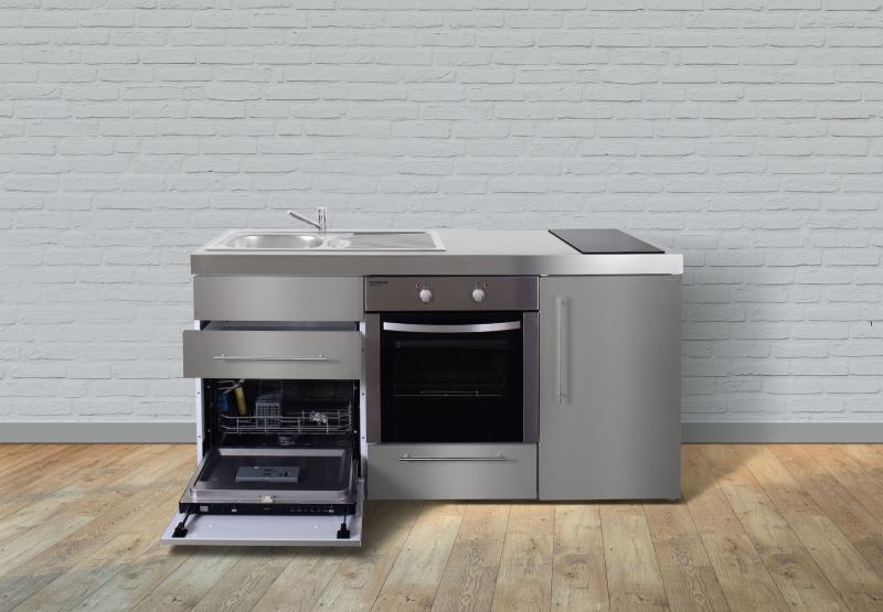 Miniküche Mit Kühlschrank 180 Cm : Miniküche edelstahl mpbgses glaskochfeld rechts becken links