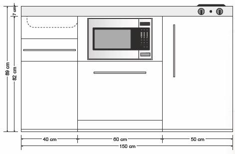 Miniküche MPGSMES 150 Glaskochfeld Kühlschrank Geschirrspüler | {Miniküche mit backofen und geschirrspüler41}