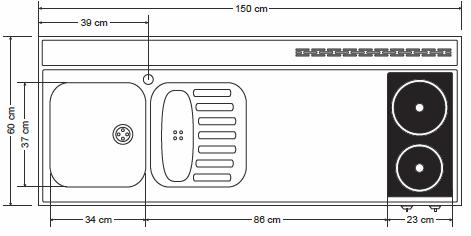 Miniküche MPGSMES 150 Glaskochfeld Kühlschrank Geschirrspüler | {Miniküche mit backofen und geschirrspüler58}