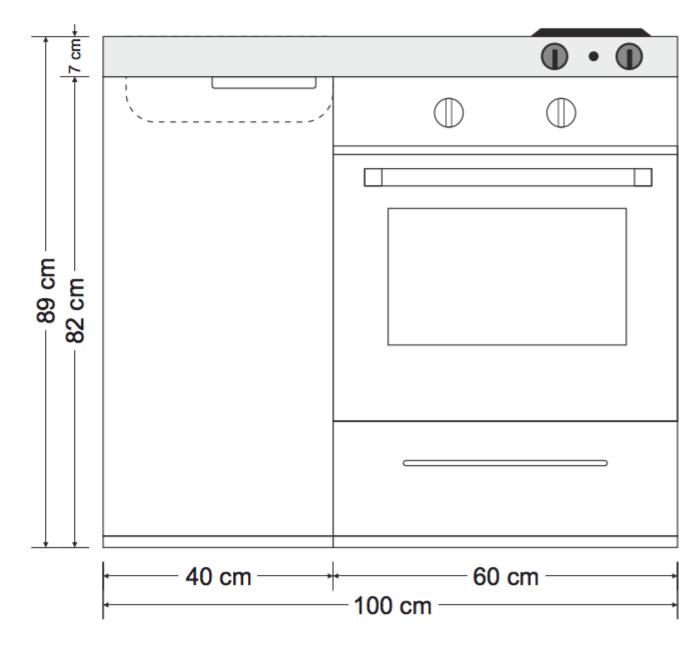 Miniküche MKB 100 Glaskochfeld links Becken rechts mit Backofen | {Miniküche mit backofen 54}