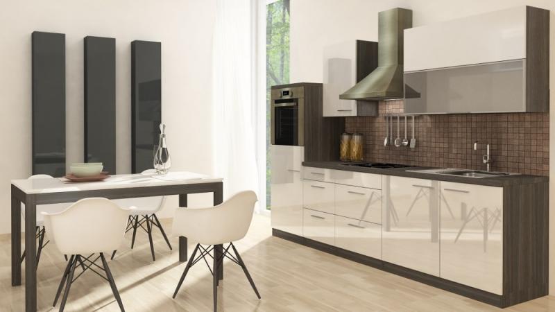 respekta Küchenzeile RP280HEW 280 cm Eiche grau weiss Hochglanz