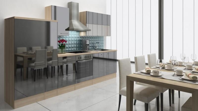 respekta k chenzeile rp310asc 310 cm akazie schwarz hochglanz. Black Bedroom Furniture Sets. Home Design Ideas