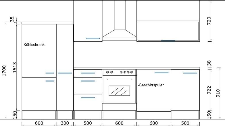 respekta k chenzeile rp310wgc 310 cm weiss grau hochglanz. Black Bedroom Furniture Sets. Home Design Ideas
