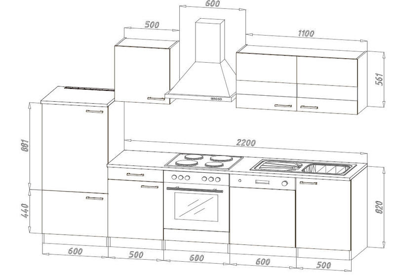 k chenblock 280 weiss eiche lbkb280esw. Black Bedroom Furniture Sets. Home Design Ideas