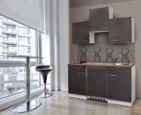 Küchenblock 150 KB150WG weiss Front grau