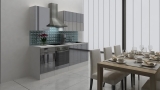 respekta Küchenblock RP220WGC Hochglanz grau ohne Kühlschrank