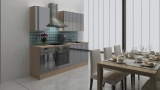 respekta Küchenblock RP220AGC Hochglanz grau ohne Kühlschrank