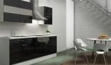 respekta Küchenblock RP210WSC Hochglanz schwarz ohne Kühlschrank