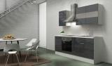 respekta Küchenblock RP210WGC Hochglanz grau ohne Kühlschrank