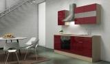 respekta Küchenblock RP210ABOC Hochglanz bordeaux ohne Kühlschrank