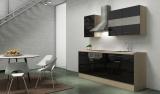 respekta Küchenblock RP210ASC Hochglanz schwarz ohne Kühlschrank