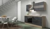 respekta Küchenblock RP210AGC Hochglanz grau ohne Kühlschrank