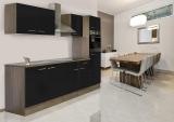 respekta Küchenzeile KB270EYS Eiche York Nachbildung Front schwarz Seidenglanz 270 cm