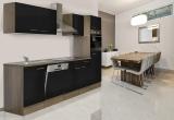 respekta Küchenzeile KB280EYS Eiche York Nachbildung - Front schwarz Seidenglanz